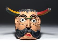 20th C. Mexican Polychrome Wood Devil Mask w/ Horns