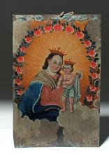 19th C. Mexican Retablo - Virgin Mary and Christ Child