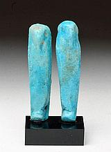 Pair of Near-Matching Egyptian Faience Ushabtis