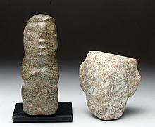 Lot of 2 Mezcala Pieces:  Stone Figure + Head