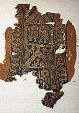Egyptian Coptic Textile Fragment - Humans and Dogs