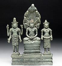 Khmer Bronze Buddha, Avalokiteshvara and Prajnaparamita