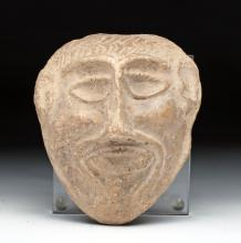 Mesopotamian Terractotta Mask of a Man's Face