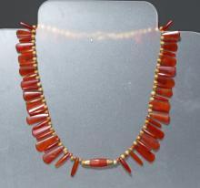 Bactrian / Roman Necklace - Carnelian, Glass, Gold