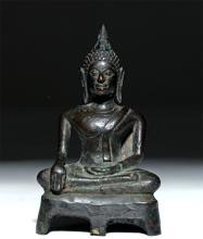 17th C. Thai Chiang Sean Bronze Buddha