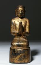19th C. Burmese Gilt Wood Kneeling Monk