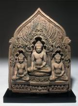 Lg 19th C. Thai Lopburi / Khmer Votive Relief - Buddhas