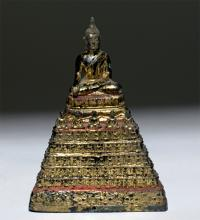 19th C. Thai Seated Gilded Bronze Buddha w/ Monks