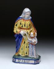 19th C.  French Religious Statuette of Saint Anne