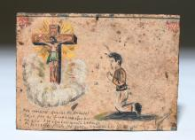 Signed Mexican Tin Ex Voto - Our Lord of the Rays