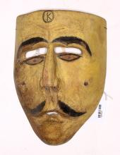 Yellow-Faced Mexican Wooden Dance Mask