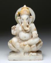 19th C. Indian Marble Elephant Headed Ganesha Statue