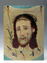 19th C. Mexican Retablo, Veronica's Veil, ex-Historia
