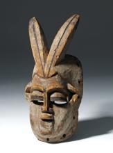 20th C. African Carved Wood Bini Mask - Azigho