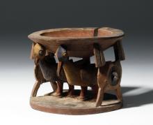 African Yoruba Wood Offering Bowl - Bird Caryatids