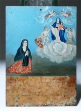 19th C. Mexican Ex Voto Virgin of the Light, x-Historia