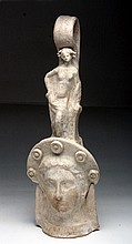 Greek Canosan Figural Vessel