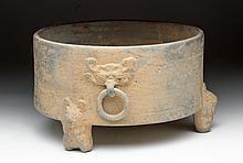 Chinese Han Dynasty Greyware Tripod Vessel
