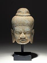 Khmer Carved Stone Buddha Head
