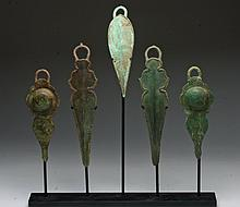 Lot of 5 Khmer Bronze Pectoral Fittings