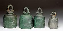 Lot of 4 Khmer Bells - Bronze and Silver