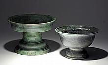 Lot of 2 Khmer Bronze Offering Dishes