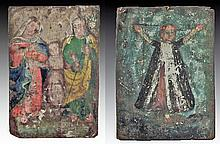 Lot of 2 Mexican Retablos, Santa Librata and La Sagrada Familia