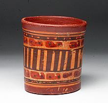 Pre-Columbian Mayan Polychrome Cylinder
