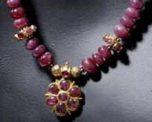 Stunning 19th C. Indian 18K Gold / Ruby Necklace