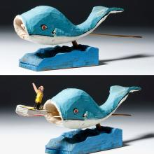 20th C. American Folk Art Wood Jonah & Whale - Ed Mann