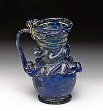 Deep Blue Roman Glass Pitcher