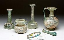 Lot of 6 Roman and Islamic Glass Vessels
