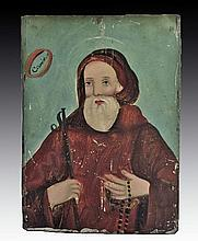 Antique Mexican Retablo, St. Francis of Paola
