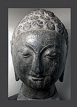 Large Chinese Qi Dynasty Stone Buddha Head