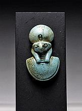 Egyptian Faience Aegis Pendant, Ex-Royal Athena