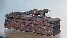 Egyptian Bronze Sarcophagus Lid w/ Mongoose Atop