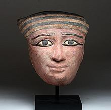 Egyptian Sarcophagus Mask - Bronze, Stone Inlays