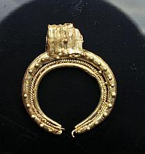 Early European Gold Lunate Pendant