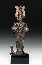 Egyptian Bronze Osiris w/ Cat, Isis on Reverse
