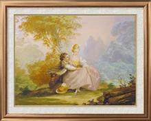 Signed Original Watercolor Boucher Rare Collectible