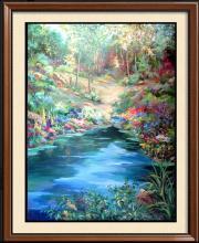 Waterfall Landscape Original Acrylic DEALER ART LIQUIDATES Museum Quality Painting Impressionism Art