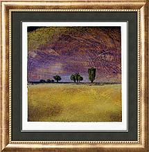 Modern Landscape Signed Original Painting on Paper Colorful Great Style Art