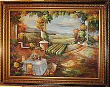 Fantastic Original Canvas Tuscan Vineyard Winery Scenic Impressionism Landscape Signed