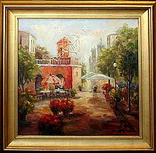 Windmill Traditional Colorful Painting Canvas Framed DEALER Textured Museum Quality Original Art