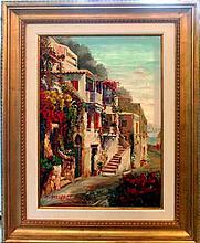 Europe St Scene Landscape Impressionism FRAMED Sign Canvas Textured Museum Quality Original Art