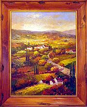 Landscape Impressionism Textured Colorful Vineyard Italian Painter Signed Original