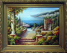 Landscape Scenic Ocean Floral Museum Framed DEALER ACRYLIC Museum Quality Painting Impressionism Art