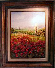 Floral Red Landscape Poppy Fields LG Original Acrylic SALE Landscape Colorful Museum Quality Art