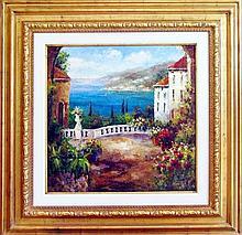 Textured Italian Original Painting Colorful Landscape Scenic Signed Art