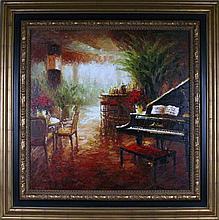 Piano Café Scene RED Vibrant Colorful Impressionism Texture Heavy Texture Original Musical Landscape